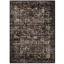 Minu Distressed Floral Lattice 5x8 Area Rug in Black, Yellow and Orange
