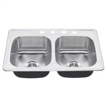 Colony 33x22 Double Bowl Stainless Steel Kitchen Sink  4 Holes  American Standard - Stainless Steel