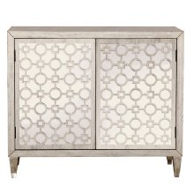 Geometric Overlay Mirrored Accent Chest in Woodgrain Beige