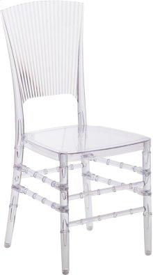 Flash Elegance Crystal Ice Stacking Chair with Vertical Line Design
