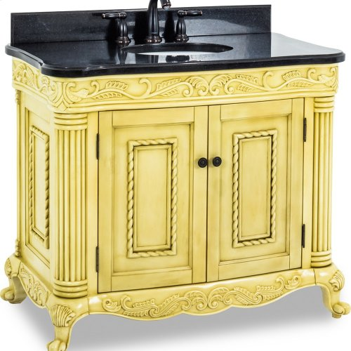 """39-11/16"""" vanity with antique White finish and hand-carved botanical and rope details and framed with reed-style columns with preassembled top and bowl."""