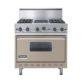 "Taupe 36"" Open Burner Commercial Depth Range - VGRC (36"" wide, four burners 12"" wide char-grill)"