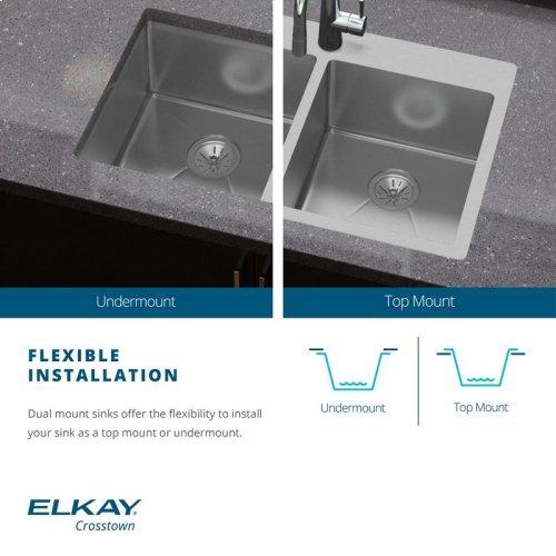 """Elkay Crosstown Stainless Steel 25"""" x 22"""" x 6"""", Single Bowl Dual Mount ADA Sink Kit"""