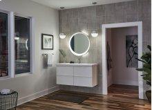 Offset Round Lighted Mirror