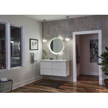Offset Round Lighted Mirror