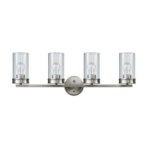Leland 4-Light Vanity Lamp in Satin Nickel with Clear Blown Glass