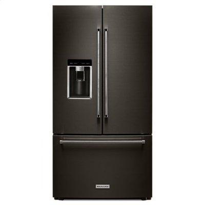 "KitchenAid® 23.8 cu. ft. 36"" Counter-Depth French Door Platinum Interior Refrigerator with PrintShield™ Finish - Black Stainless Product Image"