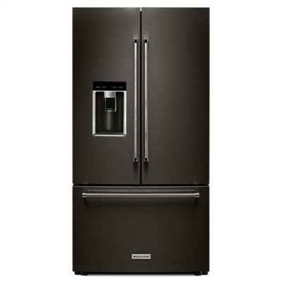 "KitchenAid® 23.8 cu. ft. 36"" Counter-Depth French Door Platinum Interior Refrigerator with PrintShield™ Finish - Black Stainless Product Image"