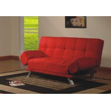 RED CLICK-CLACK FUTON SOFA WITH ADJUSTABLE ARMS