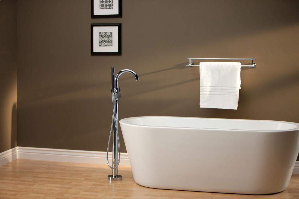 Chrome Contemporary Floor Mount Tub Filler Trim