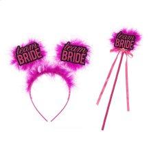 "S/2 ""Team Bride"" Headband & Wand"