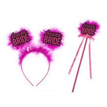 "S/2 ""Team Bride"" Headband & Wand"