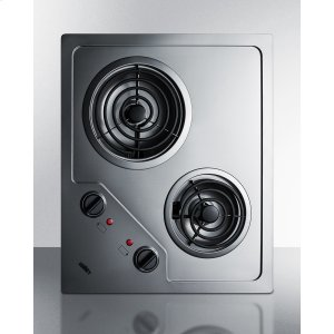 2-burner 230v Electric Cooktop Designed for Portrait or Landscape Installation, With Coil Elements and Stainless Steel Finish -