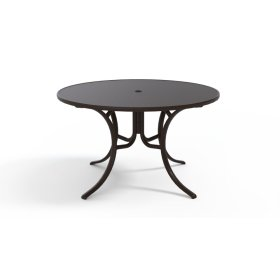 """Embossed Aluminum Top Table 48"""" Round Dining Table w/ hole"""