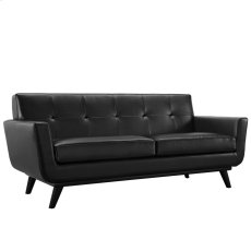 Engage Bonded Leather Loveseat in Black Product Image