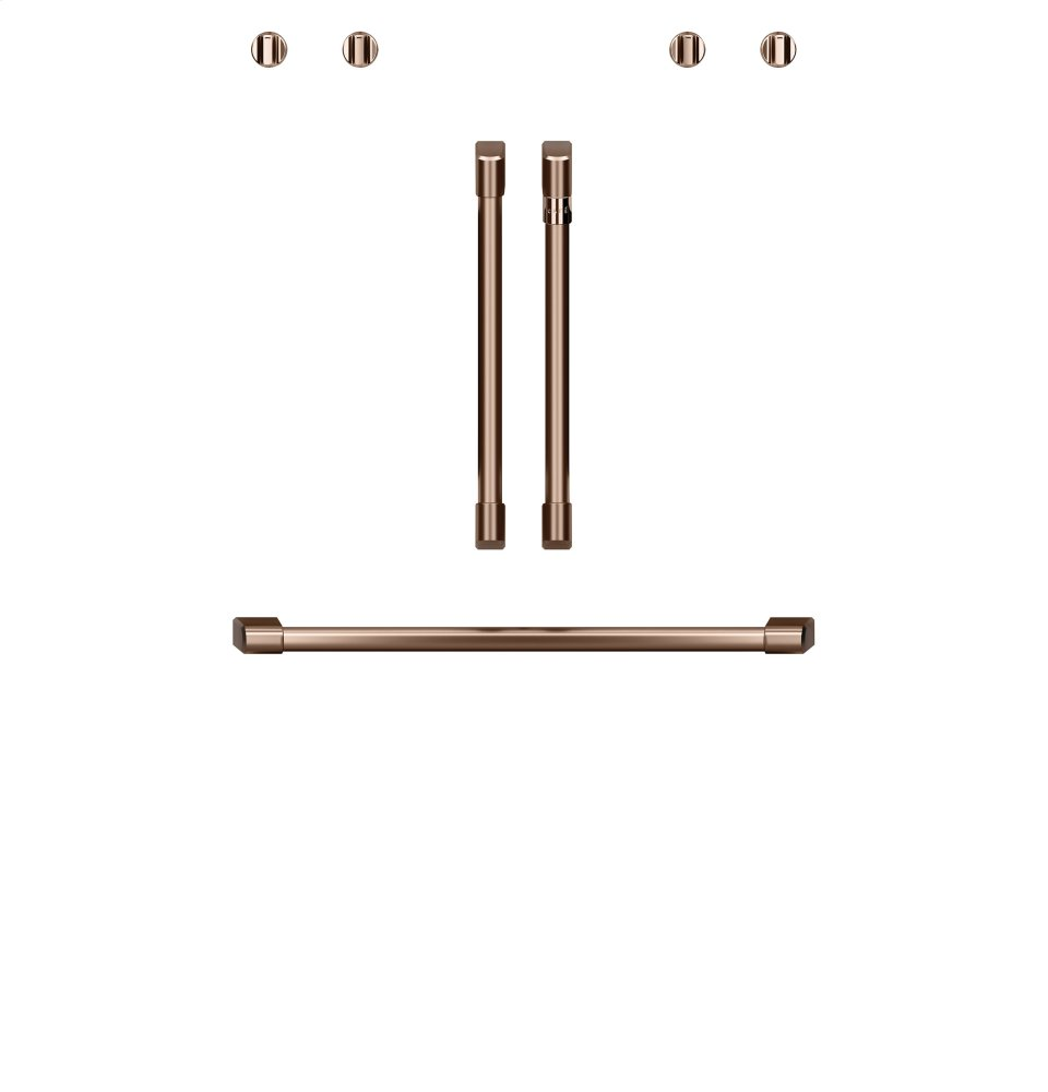"Cafe AppliancesCaf(eback) 2 French-Door Handles; 1 - 30"" Handle; 4 Knobs - Brushed Copper"