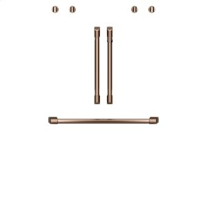 "Cafe2 French-Door Handles; 1 - 30"" Handle; 4 Knobs - Brushed Copper"