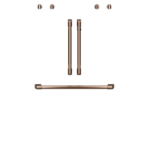 "Café 2 French-Door Handles; 1 - 30"" Handle; 4 Knobs - Brushed Copper"