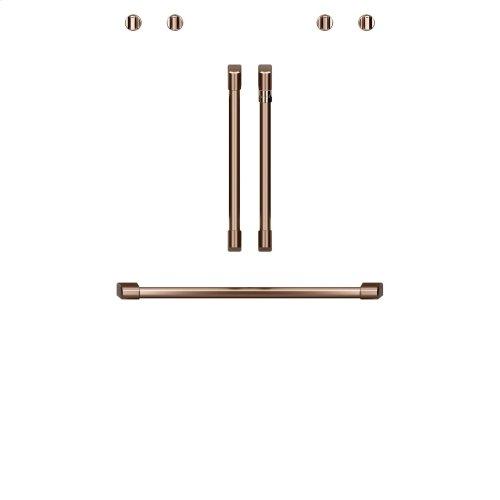 "Café 2 French-Door Handles; 1 - 30"" Handle; 4 Knobs - Brushed Copper"