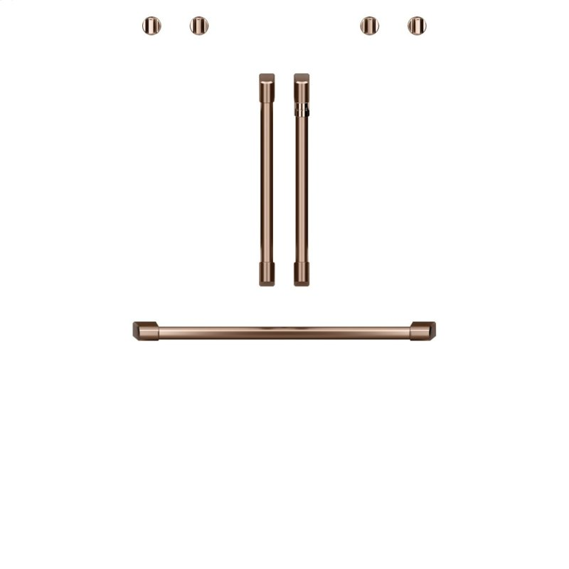 "Caf(eback) 2 French-Door Handles; 1 - 30"" Handle; 4 Knobs - Brushed Copper"