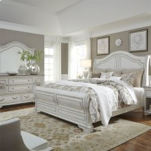 Queen Sleigh Bed, Dresser & Mirror