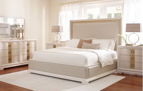 Tower Suite - Pearl Finish Upholstered Bed Queen 5/0