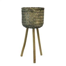 "Bamboo Planter On Wood Tripod, 27.5"""
