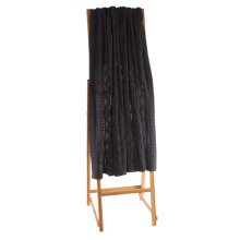 Charcoal Grey Cable Knit Acid Wash Throw.