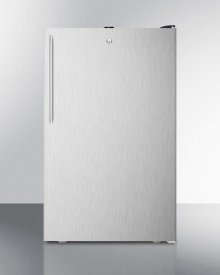 """Commercially Listed 20"""" Wide Built-in Undercounter All-refrigerator, Auto Defrost With A Lock, Stainless Steel Door, Thin Handle and Black Cabinet"""