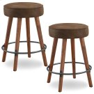 Rustic Round Faux Leather Counter Height Swivel Stool #10102WY/BB - Set of 2 Product Image