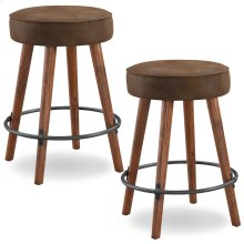 Rustic Round Faux Leather Counter Height Swivel Stool #10102WY/BB - Set of 2