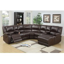 Espresso Reclining Sectional with Reclining Chaise, Cup Holders and Storage