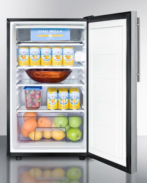 "20"" Wide Counter Height Refrigerator-freezer With A Lock, Stainless Steel Door, Thin Handle and Black Cabinet"