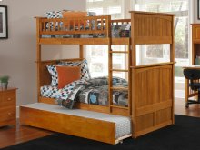 Nantucket Bunk Bed Full over Full with Urban Trundle Bed in Caramel Latte