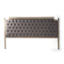 Louis Tufted Headboard (King, Aubergine Linen)