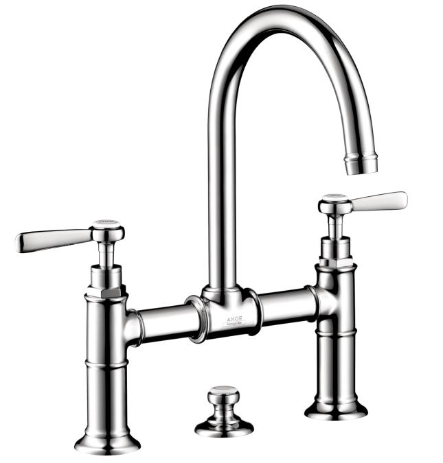 Chrome Widespread Faucet w/Lever Handles, Bridge Model
