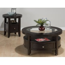 Round Cocktail Table W/ Pull-thru Drawer, Shelf & Casters