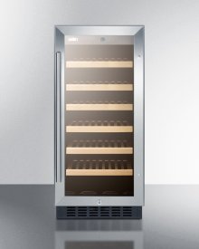 """15"""" Wide Wine Cellar for Built-in or Freestanding Use, With Stainless Steel Wrapped Cabinet, Glass Door, and Lock"""