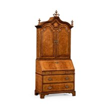 Queen Anne Walnut Bureau with Chinoiserie Interior & Panelled Doors