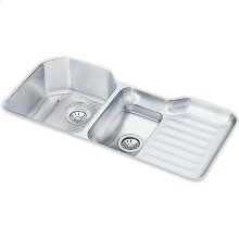 "Elkay Lustertone Classic Stainless Steel, 41-1/2"" x 20-1/2"" x 9-1/2"", 40/60 Double Bowl Undermount Sink Kit"
