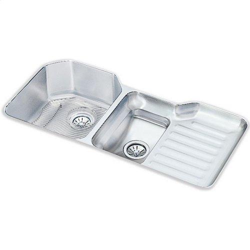 "Elkay Lustertone Classic Stainless Steel, 41-1/2"" x 20-1/2"" x 9-1/2"", 40/60 Double Bowl Undermount Sink Kit"