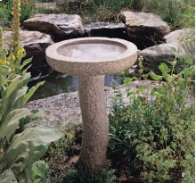 Rough Bird Bath Rough Birdbath, Complete Set / Rose Granite