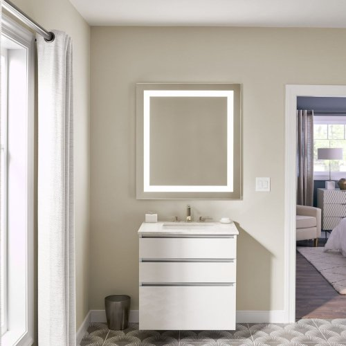 "Cartesian 30-1/8"" X 7-1/2"" X 21-3/4"" Slim Drawer Vanity In Matte Gray With Slow-close Plumbing Drawer and Night Light In 5000k Temperature (cool Light)"