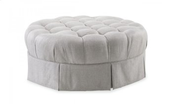 Ava Grey Round Tufted Top Ottoman with Kick Pleat Skirt Product Image
