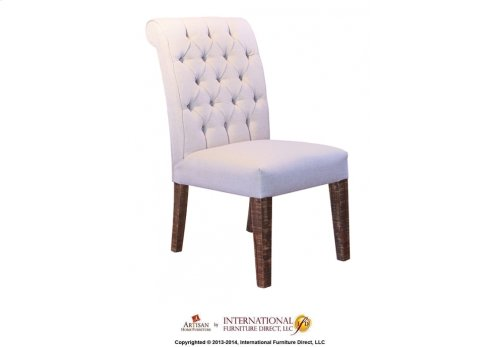 Upholstered Chair with tufted back & solid wood legs - 100% Polyester with a linen appearance
