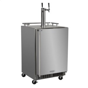 "MarvelOutdoor 24"" Twin Tap Mobile Beer Dispenser with Stainless Steel Door - Solid Stainless Steel Door With Lock - Right Hinge"