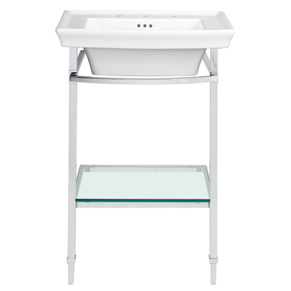 Console Sink Part - 40: Wyatt Console Sink - Canvas White / Polished Chrome