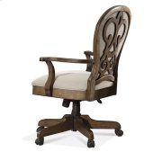 Belmeade Scroll Back Upholstered Desk Chair Old World Oak finish Product Image