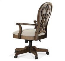 Belmeade Scroll Back Upholstered Desk Chair Old World Oak finish
