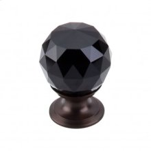 Black Crystal Knob 1 1/8 Inch - Oil Rubbed Bronze